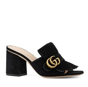 Authentic Gucci Marmont Mid Heel Slide Sandals